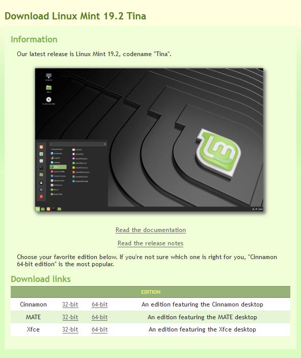 Visual da página de download do linux mint.